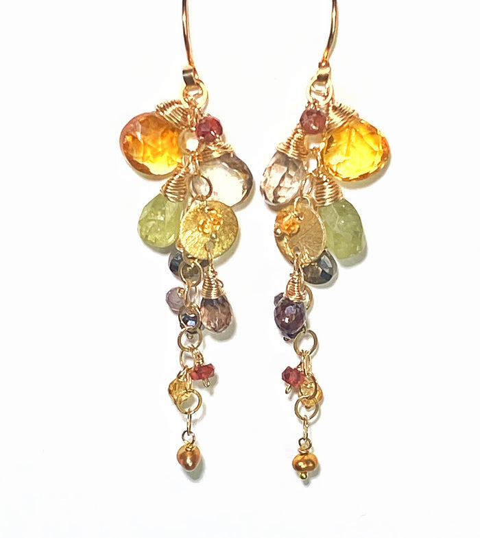 Citrine and Multi Gem Stone Dangle Earrings, Gold Chain Tassel