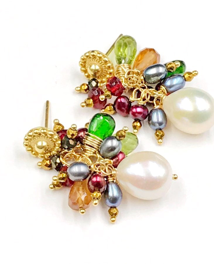 Multi-color Gemstone and Pearl Cluster Gold Post Earrings