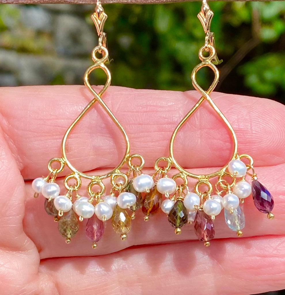 Tourmaline and Pearl Gold Chandelier Earrings