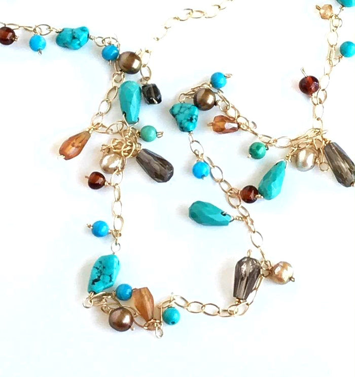 Turquoise Gemstone Gold Filled Long Necklace