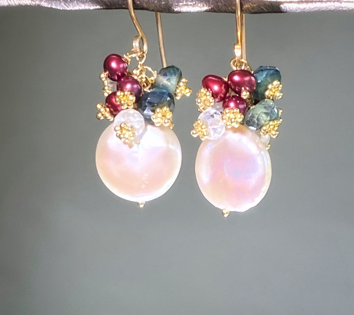 Coin Pearl & Green Moonstone Red Pearl Cluster Earrings
