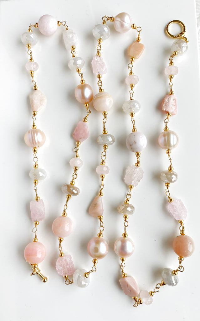 Pink Blush Gemstone and Pearl Long Necklace Gold Fill Wire Wrap