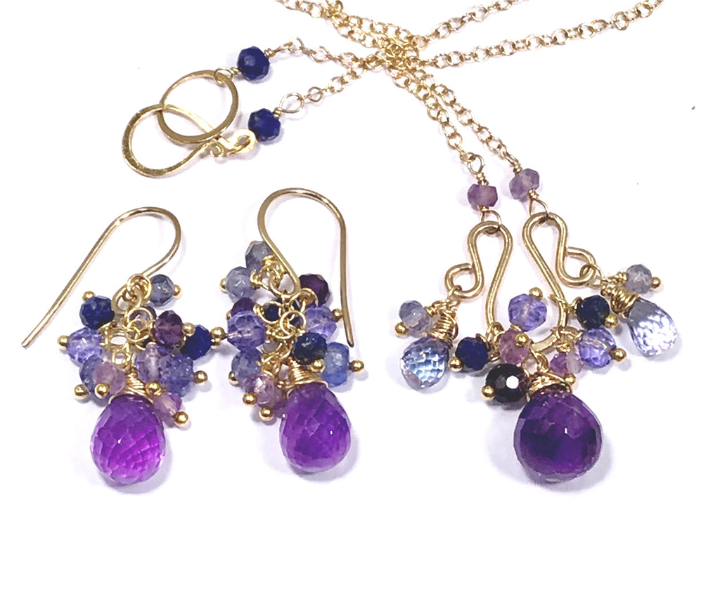 Amethyst Gemstone Cluster Wire Wrap Necklace Set - doolittlejewelry
