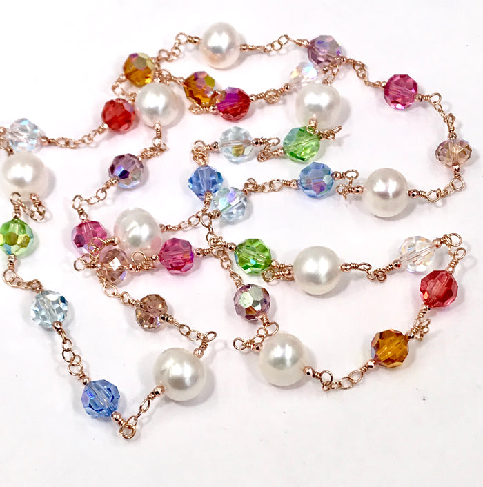 Rose Gold Pearl Swarovski Crystal Long Sautoir Necklace Rosary Style - doolittlejewelry