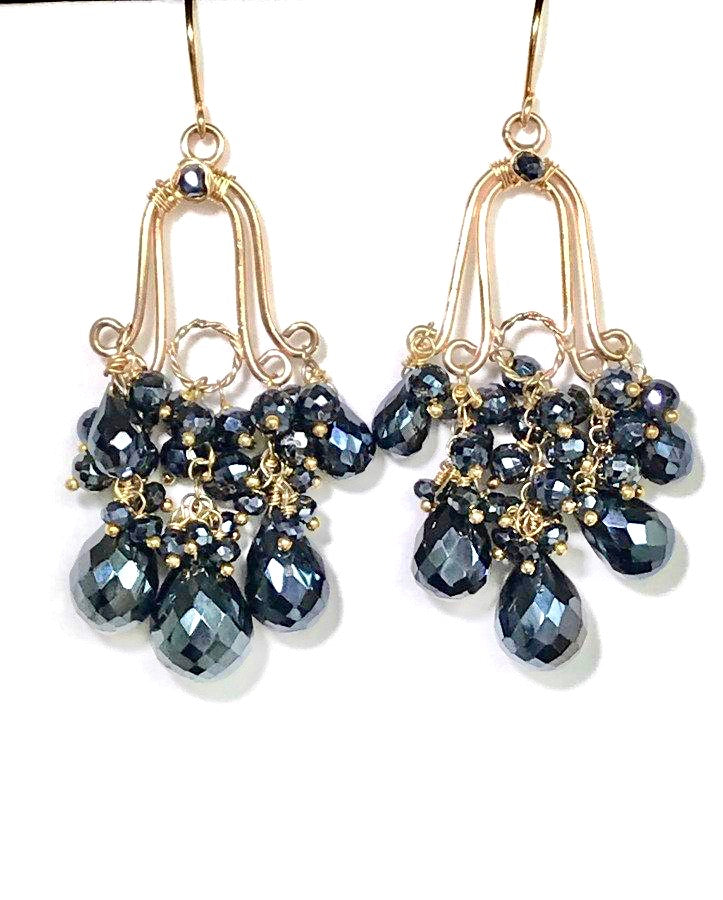 Gemstone Black Spinel Gold Fill Handmade Chandelier Earrings