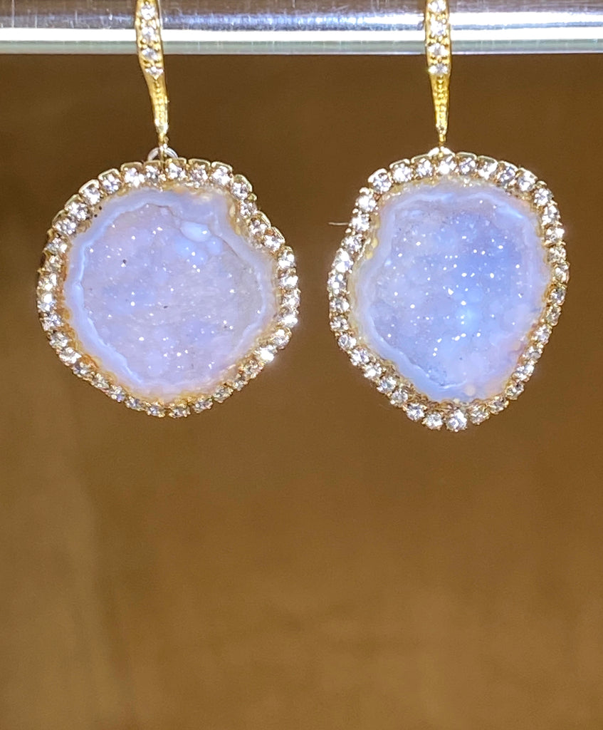 Ivory Tabasco Geode Earrings Diamond Bezel Style - doolittlejewelry