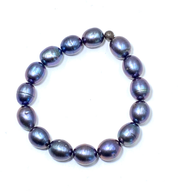 Black Baroque Pearl Stack Beaded Bracelet