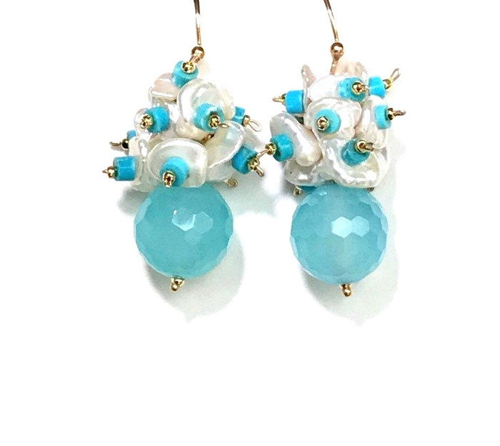 Blue, Turquoise and Keishi Pearl Cluster Earrings - doolittlejewelry