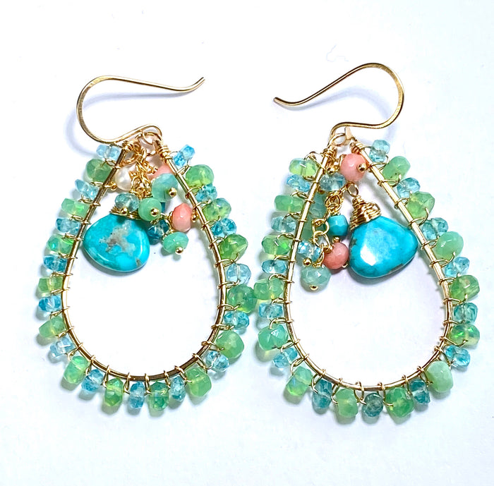 Turquoise, Apatite, Green Ethiopian Opal Hoop Earrings Gold Fill