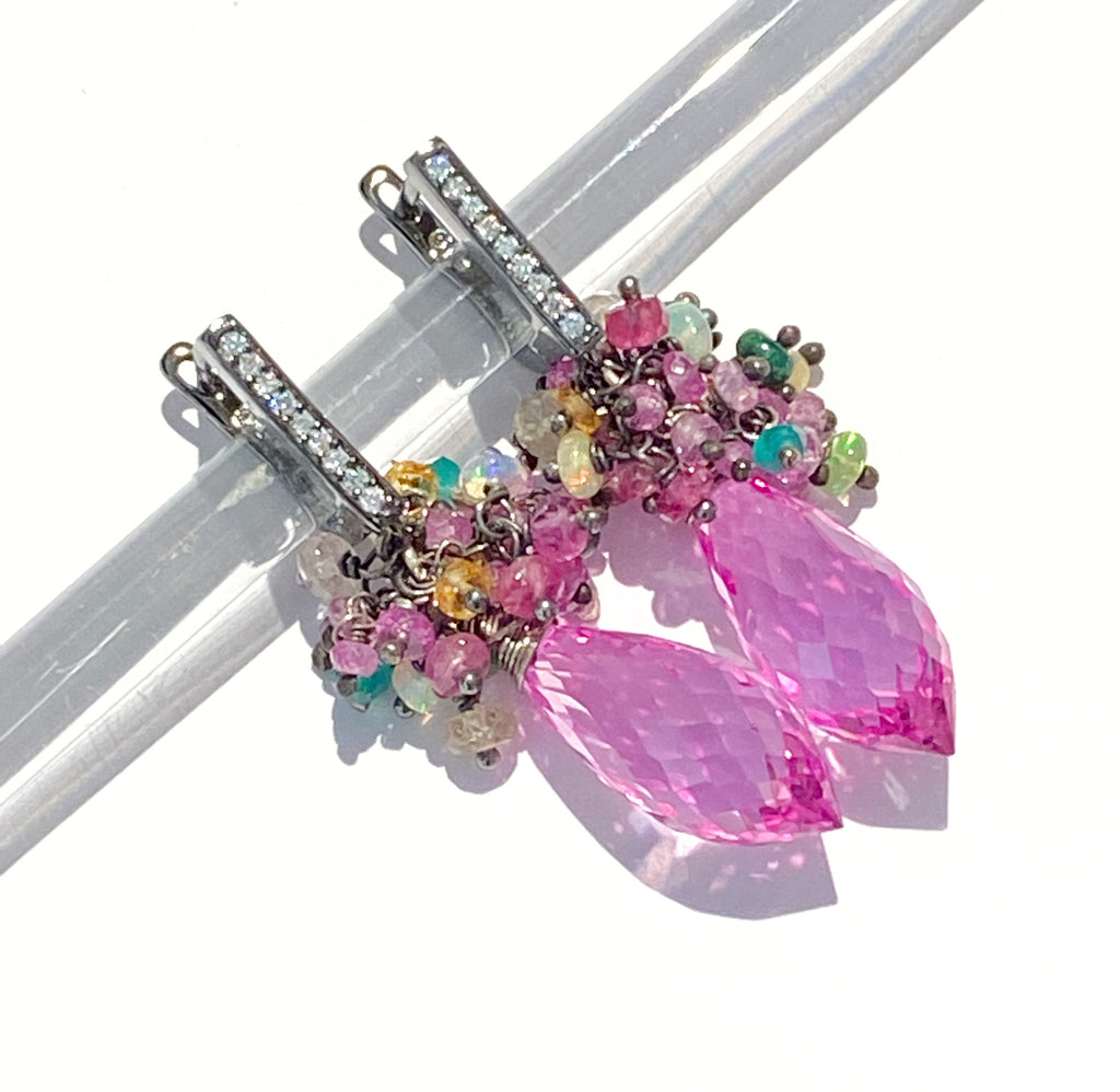Pink Topaz and Opal Sapphire Cluster Earrings in Oxidized Silver - doolittlejewelry