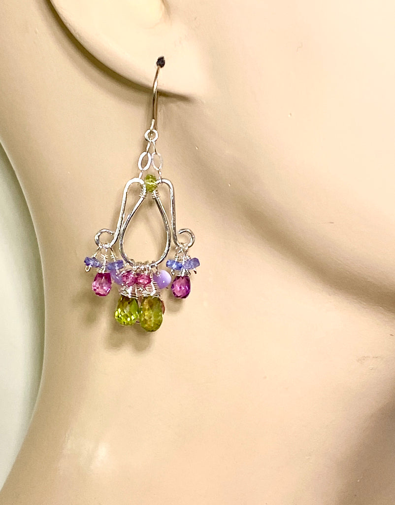 Multi-color Gemstone Chandelier Earrings Sterling Silver Peridot Pink Topaz Tanzanite Opal - doolittlejewelry