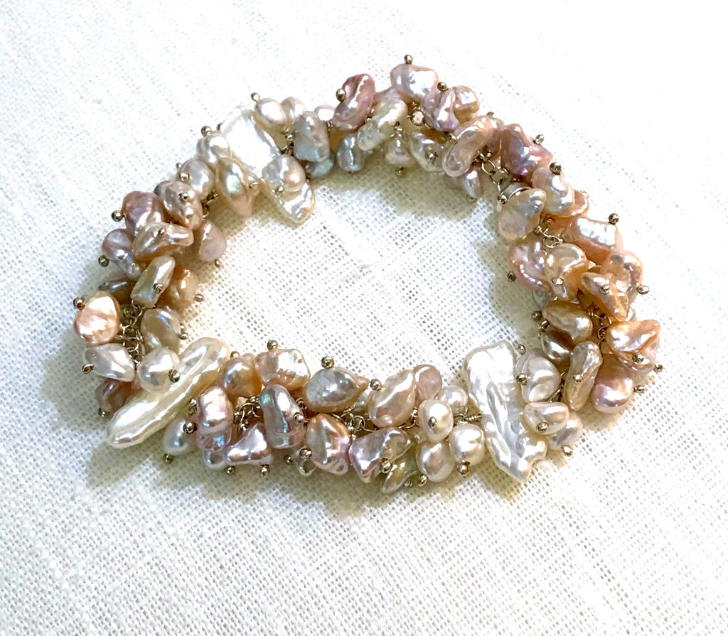 Sterling Silver and Keishi Pearl Wedding Bracelet - doolittlejewelry
