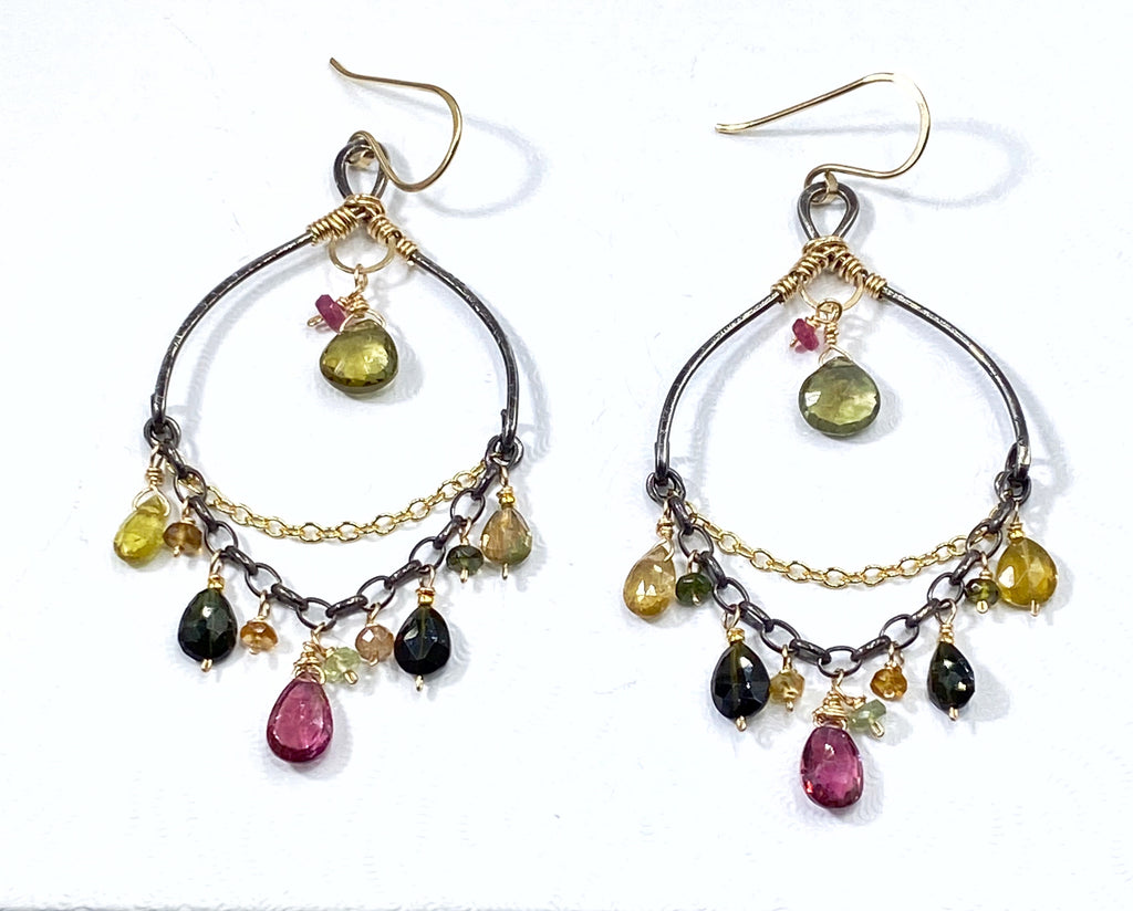 Tourmaline Chandelier Earrings Boho Style Mixed Metals