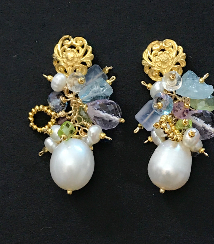 Pastel Gemstone Cluster Pearl Earrings Aquamarine Gold - doolittlejewelry