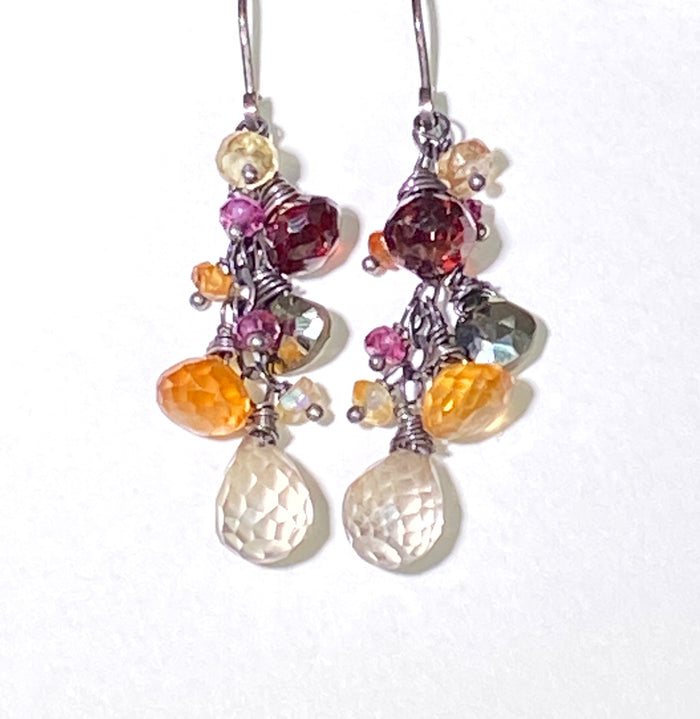 Garnet Oxidized Silver Multicolor Gem Dangle Earrings