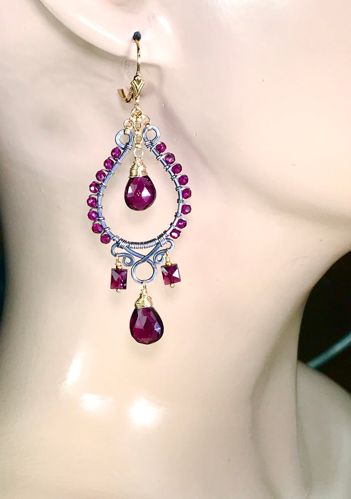 Rhodolite Garnet Chandelier Earrings Mixed Metal Boho Style Oxidized Silver Gold Fill - doolittlejewelry