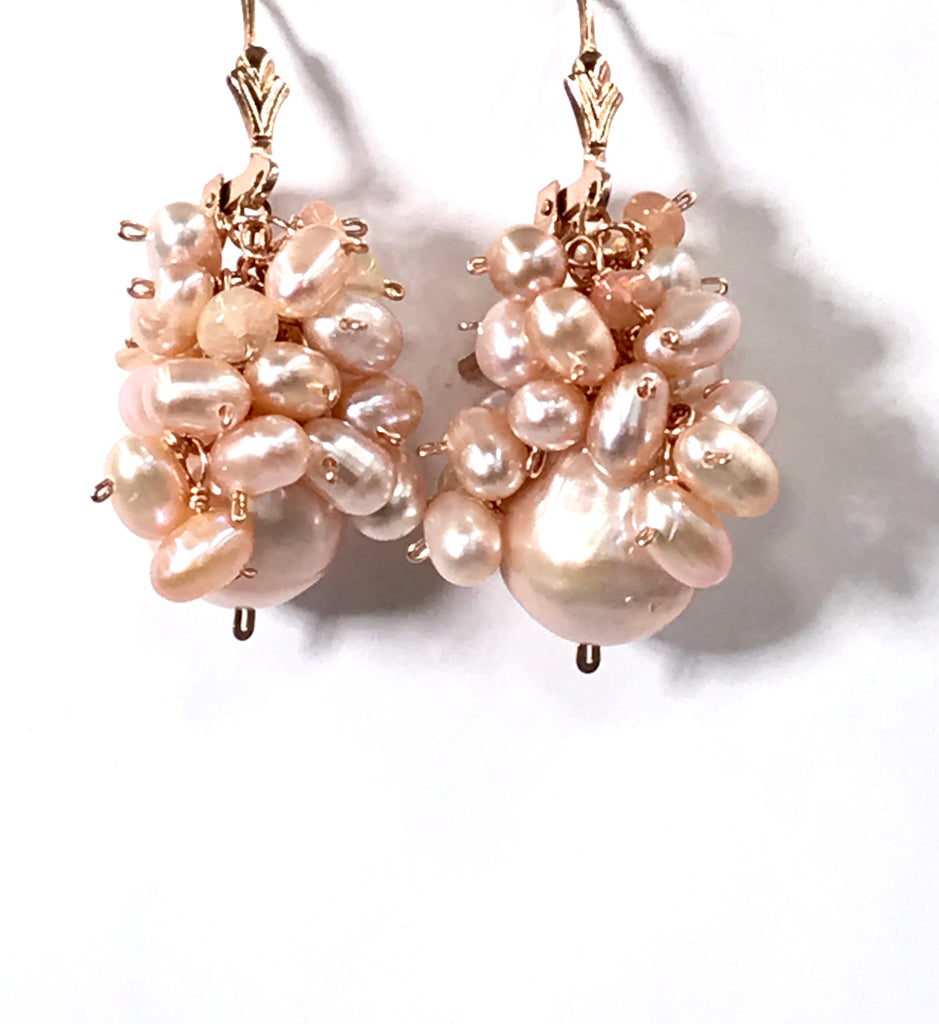Blush Pink Pearl and Opal Cluster Earrings in Rose Gold - doolittlejewelry