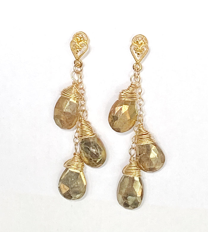 Gold Dangle Earrings Mystic Gold Labradorite Gemstone