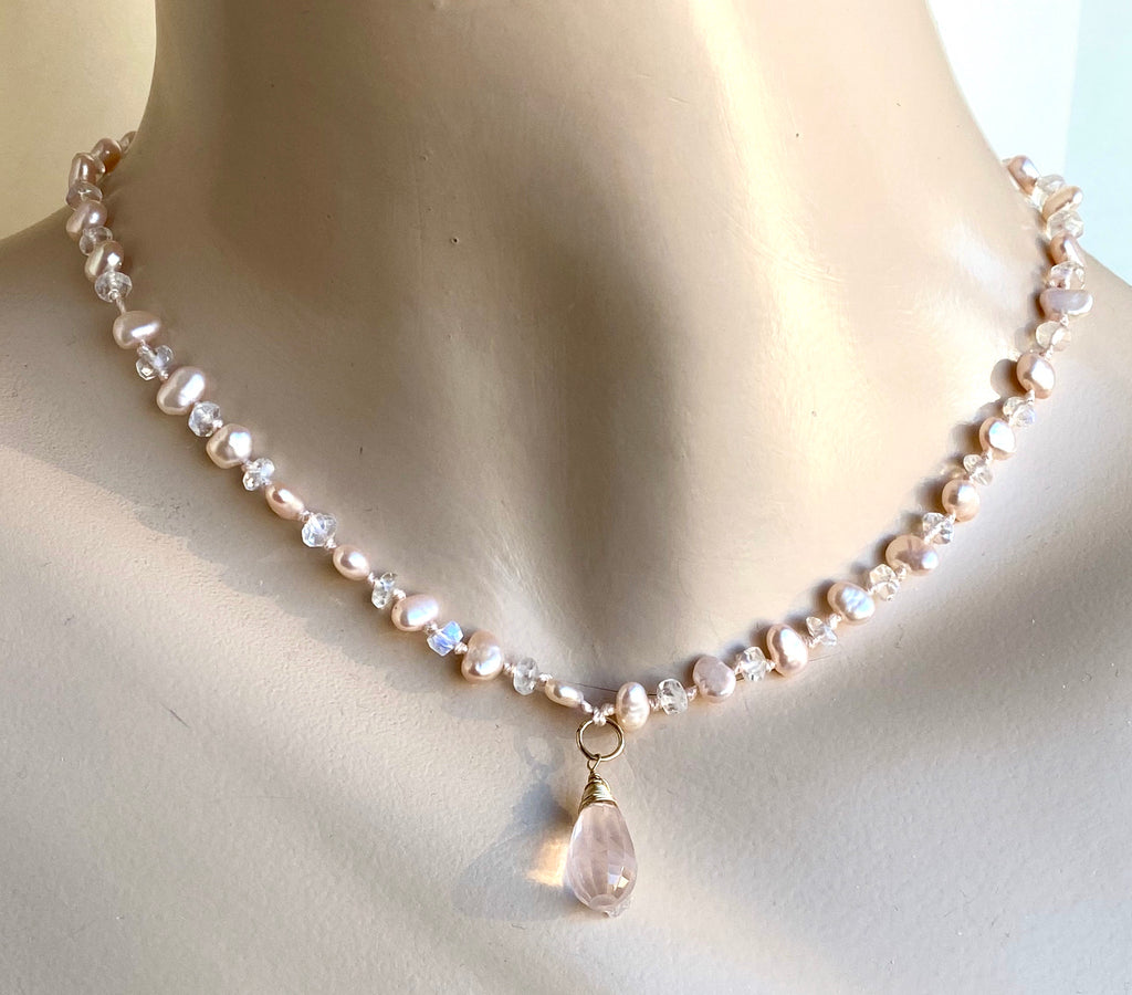 Rose Quartz Dangle Necklace Silk Knotted Blush Pink Pearl Moonstone - doolittlejewelry