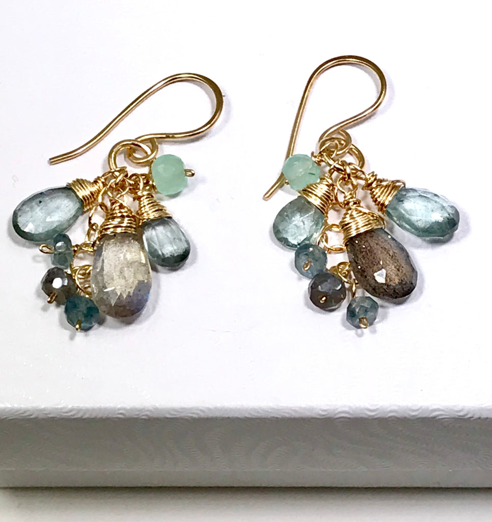 Moss Aquamarine and Labradorite Dangle Earrings Gold - doolittlejewelry