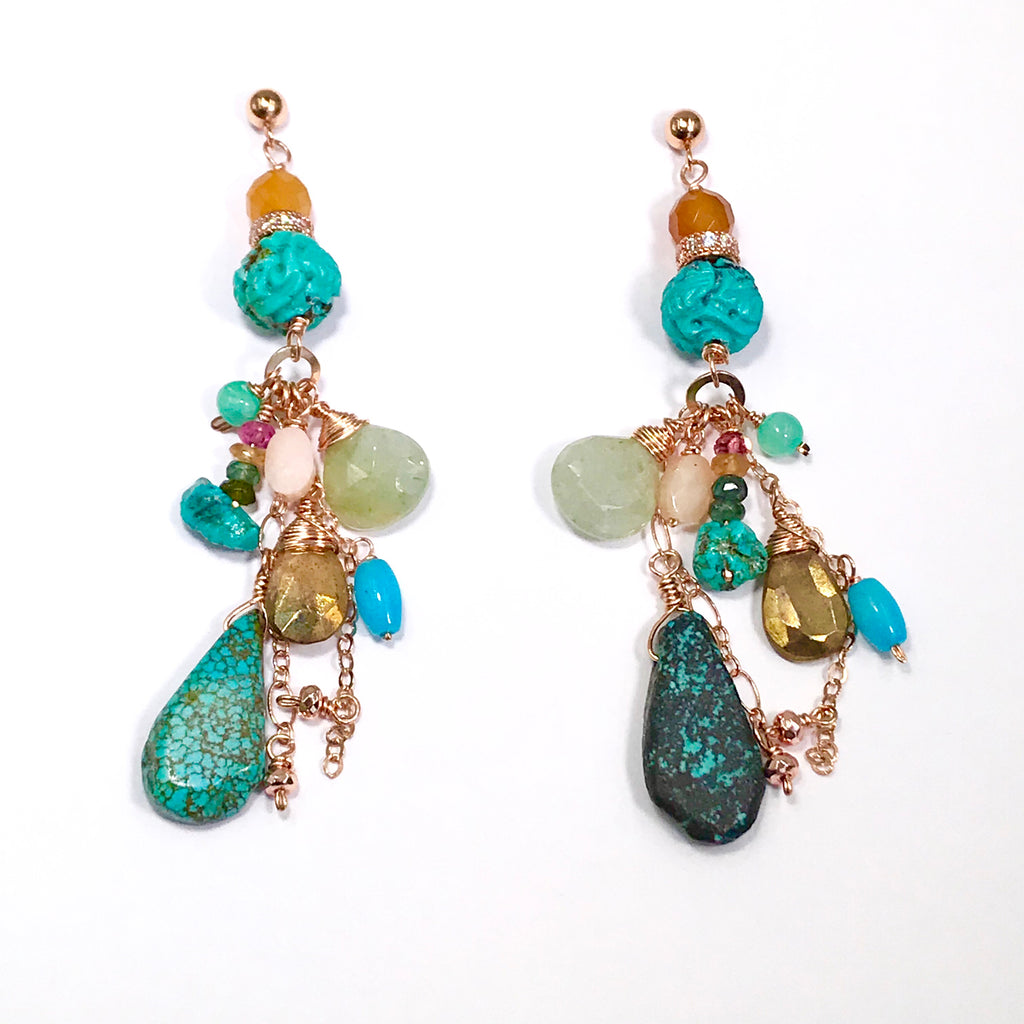 Turquoise Rose Gold Long Boho Dangle Earrings Gold Mystic Labradorite - doolittlejewelry