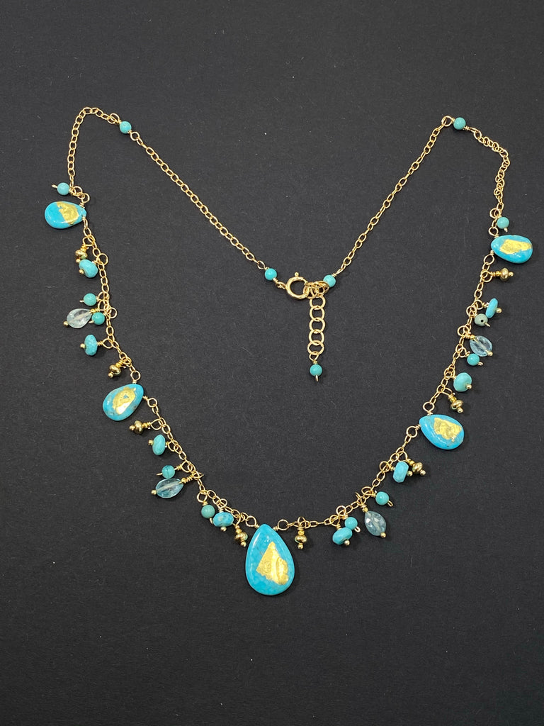 Kingman Turquoise Dangle Necklace Blue Zircon 24 kt Solid Gold Leaf - doolittlejewelry