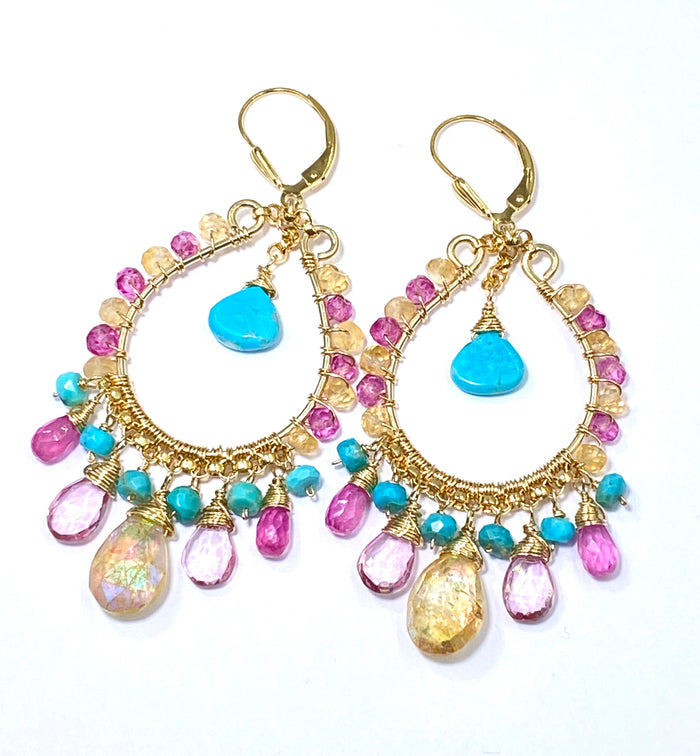 Colorful Gemstone Gold Hoop Earrings - Kingman Turquoise, Mystic Citrine, Pink Sapphire - doolittlejewelry