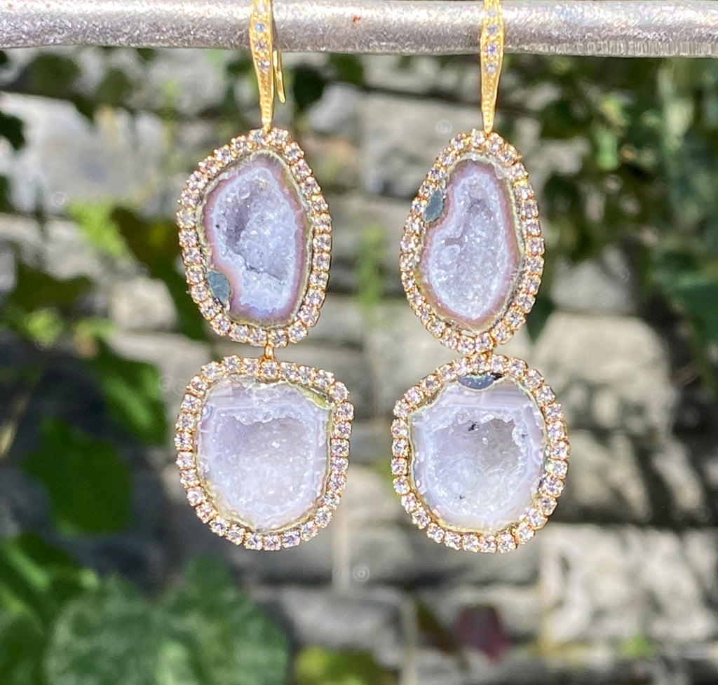 Sparkly Druzy Tabasco Geode Swarovski Earrings