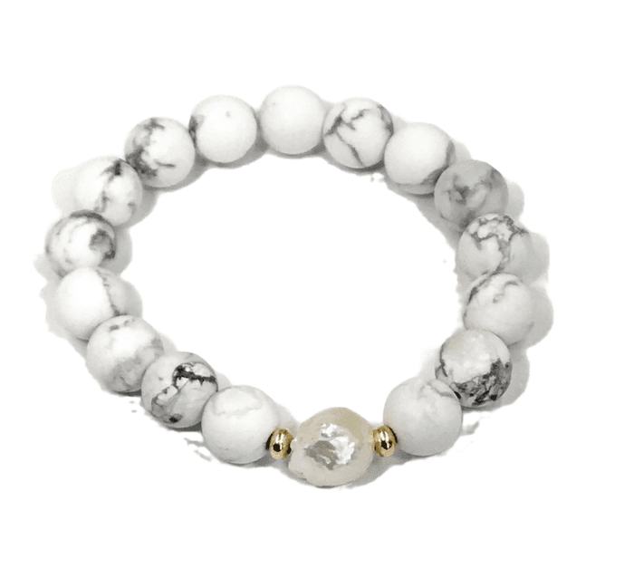 Beaded Stretch Bracelet White Howlite Pearl Stacking Bracelet