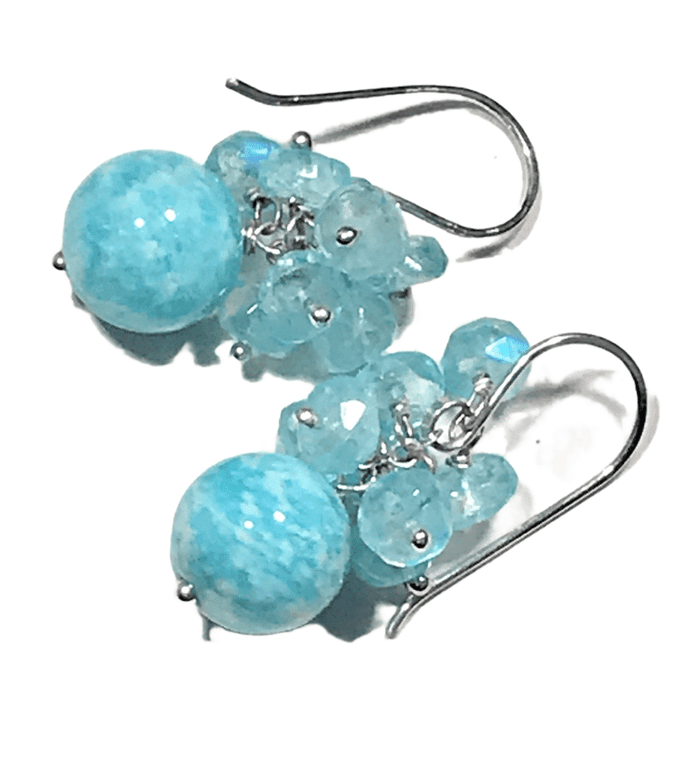Aqua Moonstone Amazonite Sterling Silver Cluster Earring - doolittlejewelry