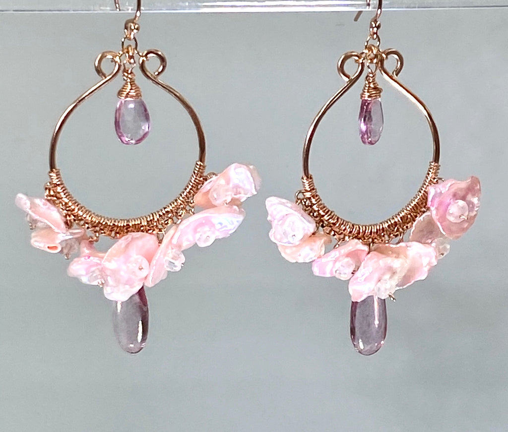 Rose Gold Hoop Earrings with Blush Keishi Pearls and Pink Topaz - doolittlejewelry
