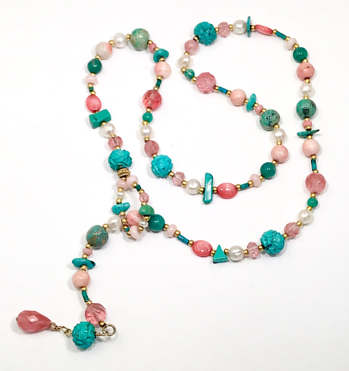 Lariat and Turquoise Coral Boho Necklace - doolittlejewelry