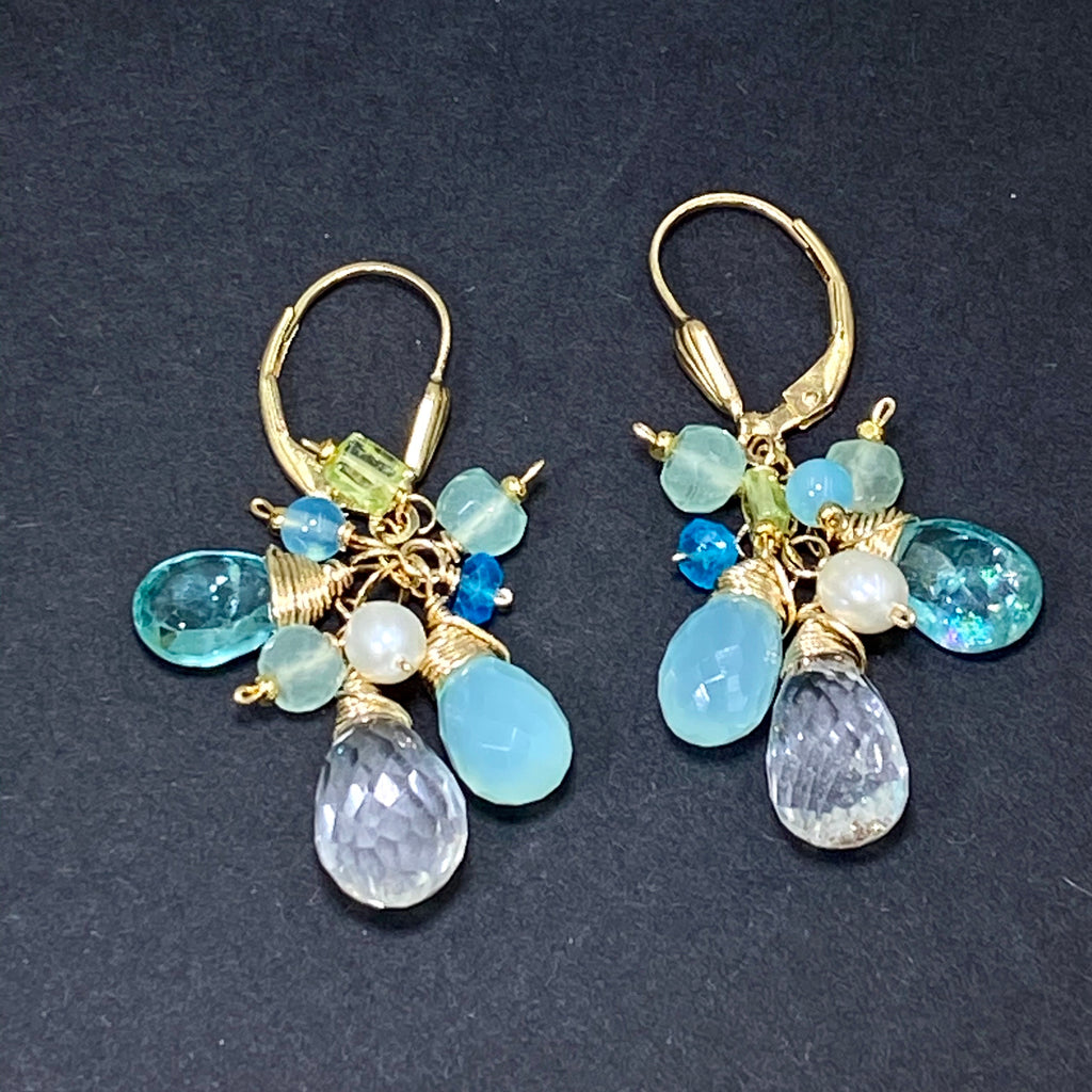Aqua Gold Filled Dangle Earrings Crystal Quartz & Apatite - doolittlejewelry