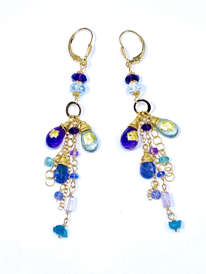 Amethyst Moss Aquamarine Tanzanite 24 kt Gold Leaf Gemstone Dangle Earrings Gold - doolittlejewelry