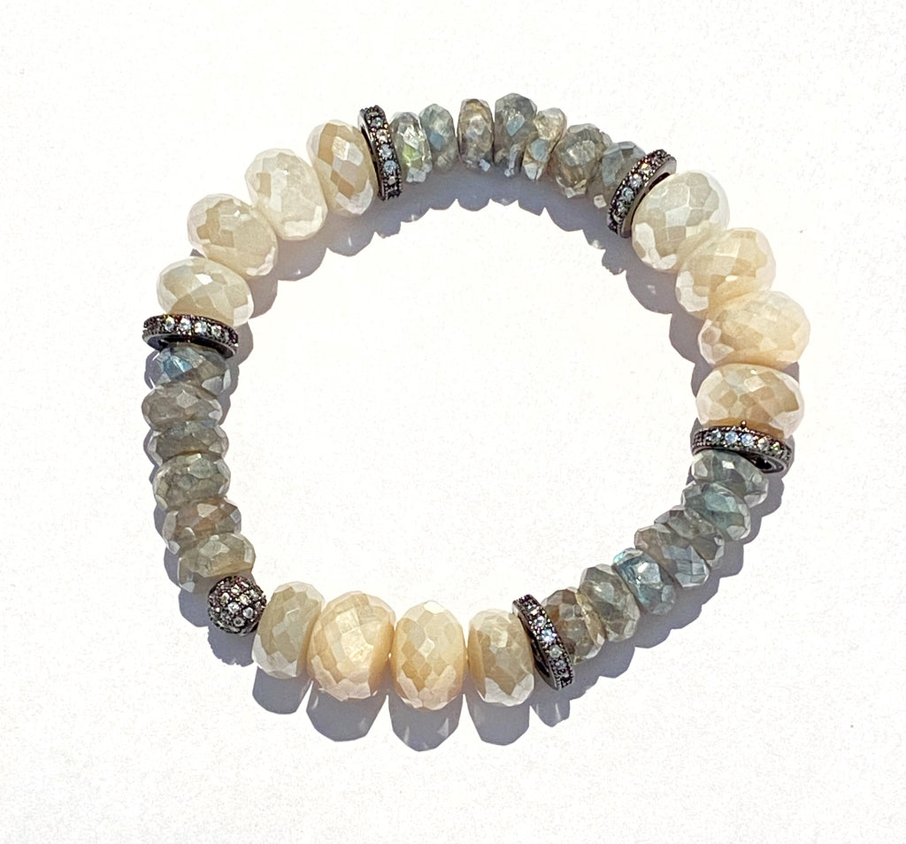 Mystic Labradorite Stretchy Stackable Beaded Bracelet