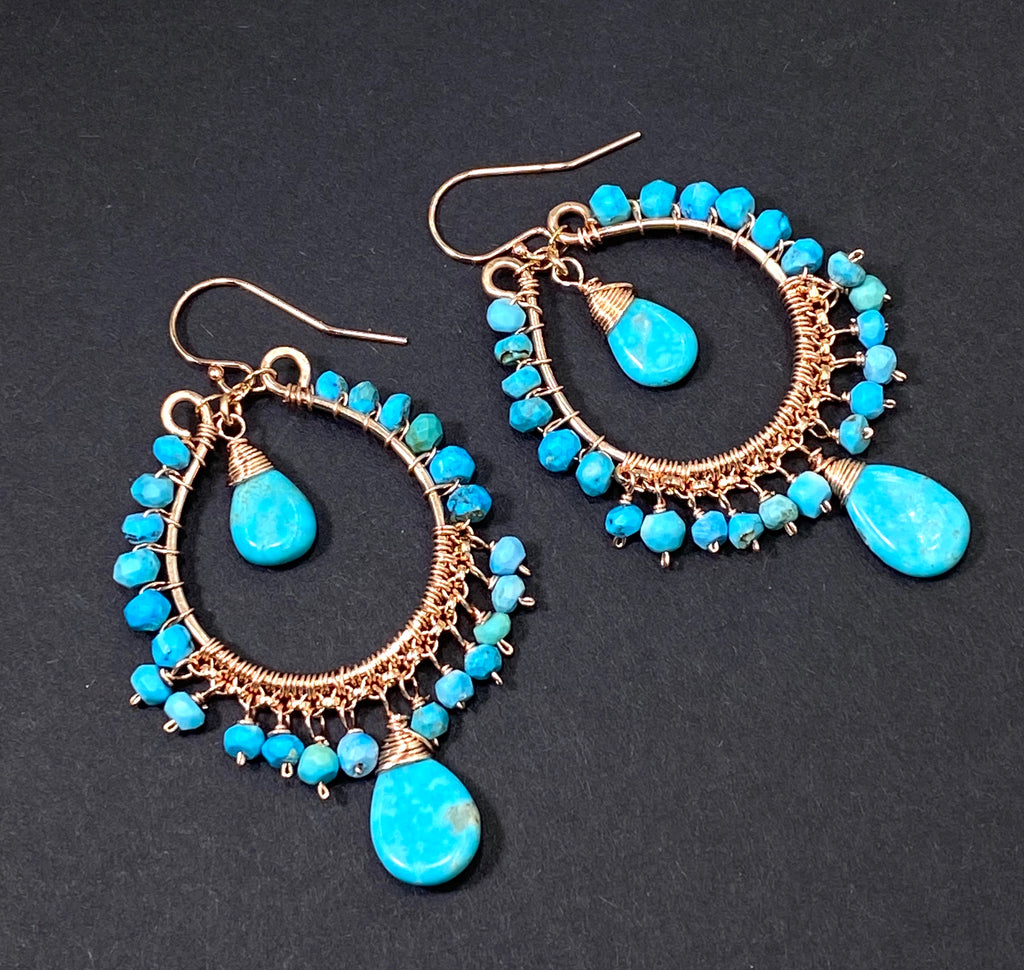 Turquoise Gemstone Rose Gold Hoop Earrings Kingman Mine - doolittlejewelry