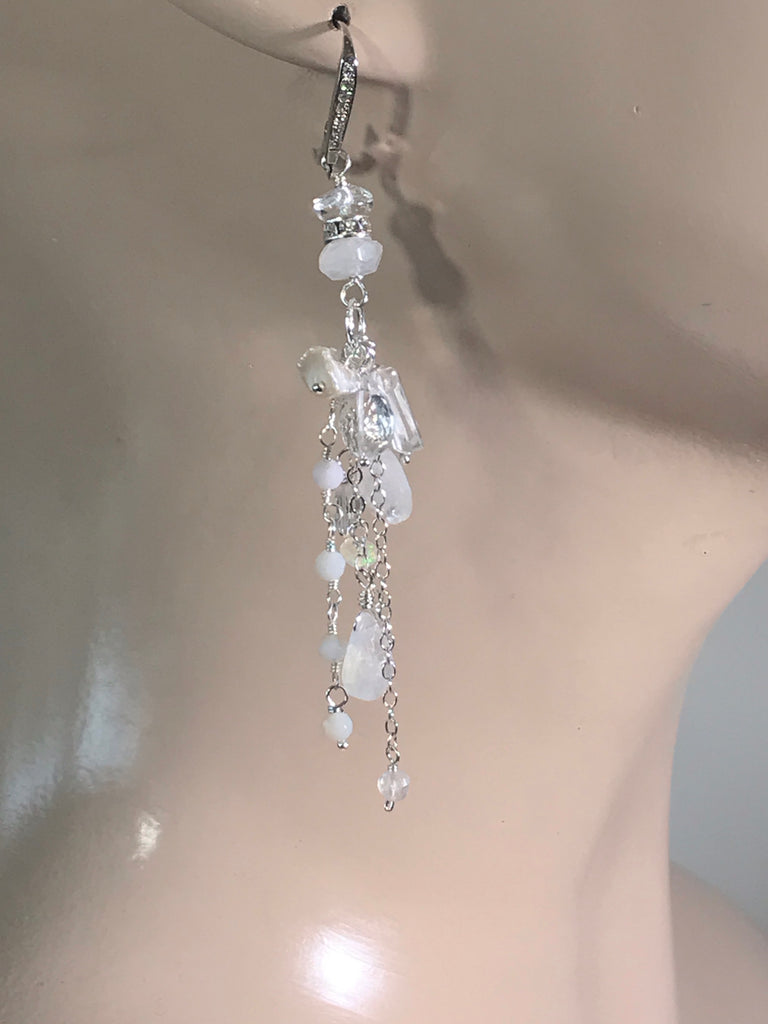 Moonstone Long Boho Bridal Earrings Crystal Quartz Sterling Silver - doolittlejewelry