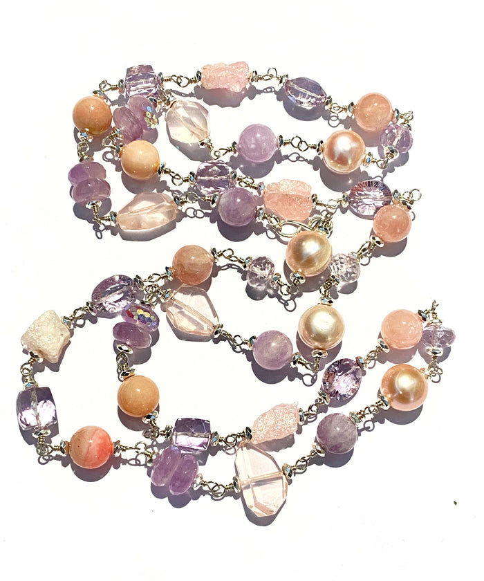 Long Sterling Silver Gemstone Pearl Necklace Lavender Amethyst Rose Quartz
