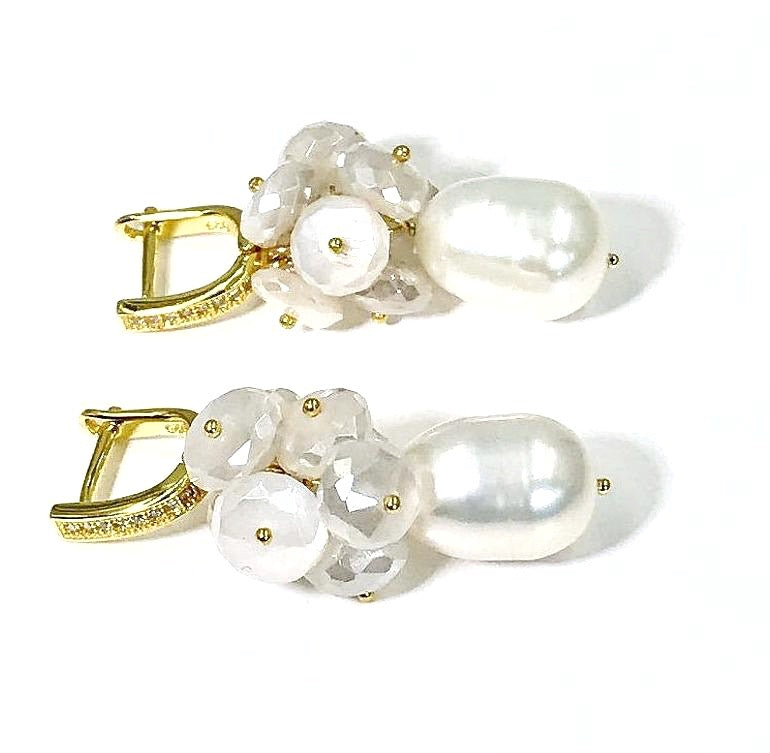 Baroque Pearl and Mystic Moonstone Gemstone Earrings