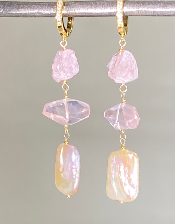 CUSTOM ORDER for MJ - Blush Square Pearl, Rose Quartz Modern Dangle Earrings