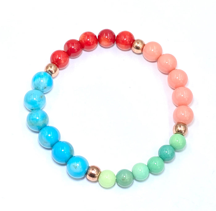 Colorful Stretch Stacking Bracelet Blue Turquoise, Green Opal, Red Coral, Pink Coral Rose Gold