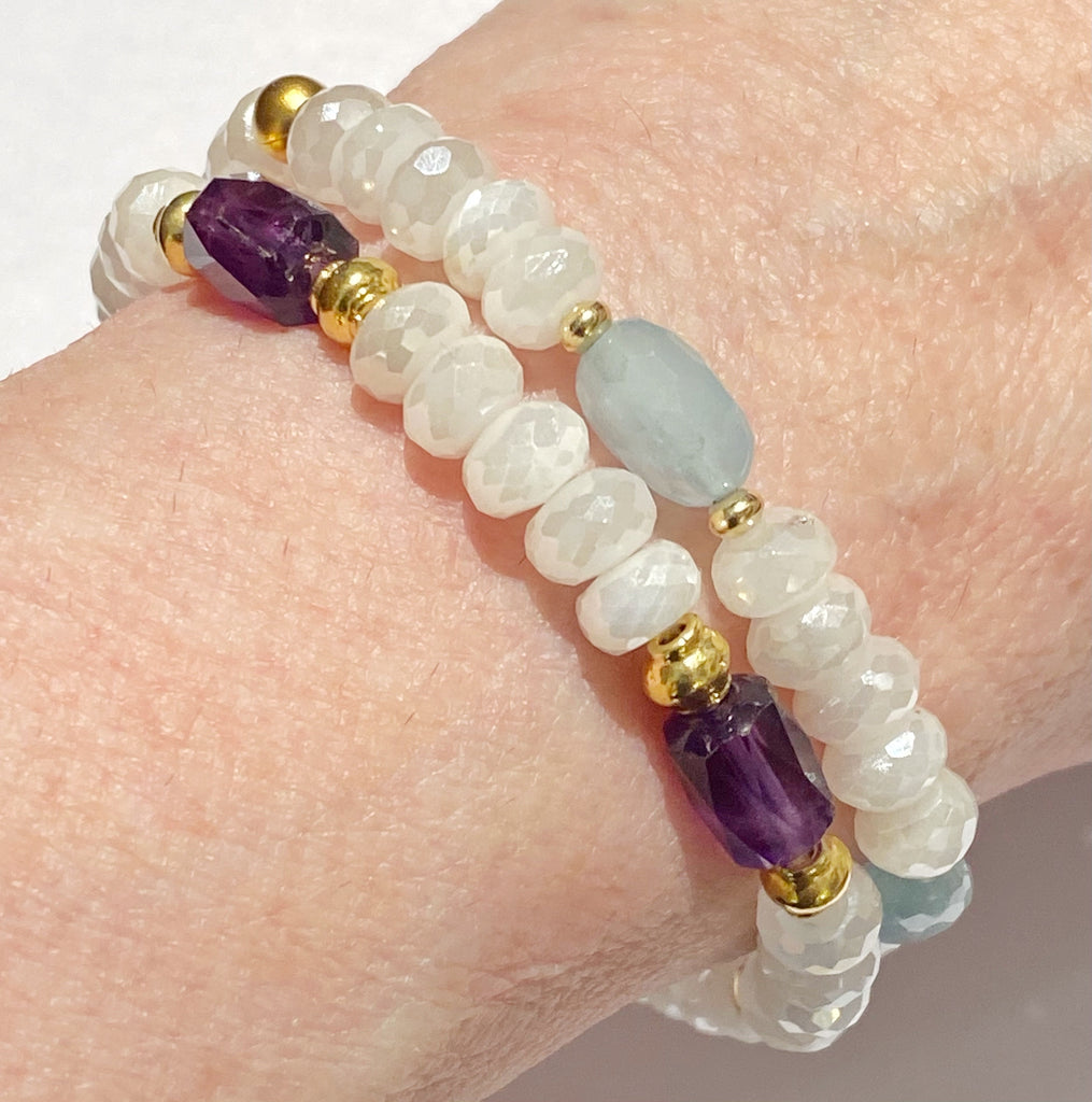 Amethyst and Ivory Mystic Moonstone Stretch Stacking Bracelet