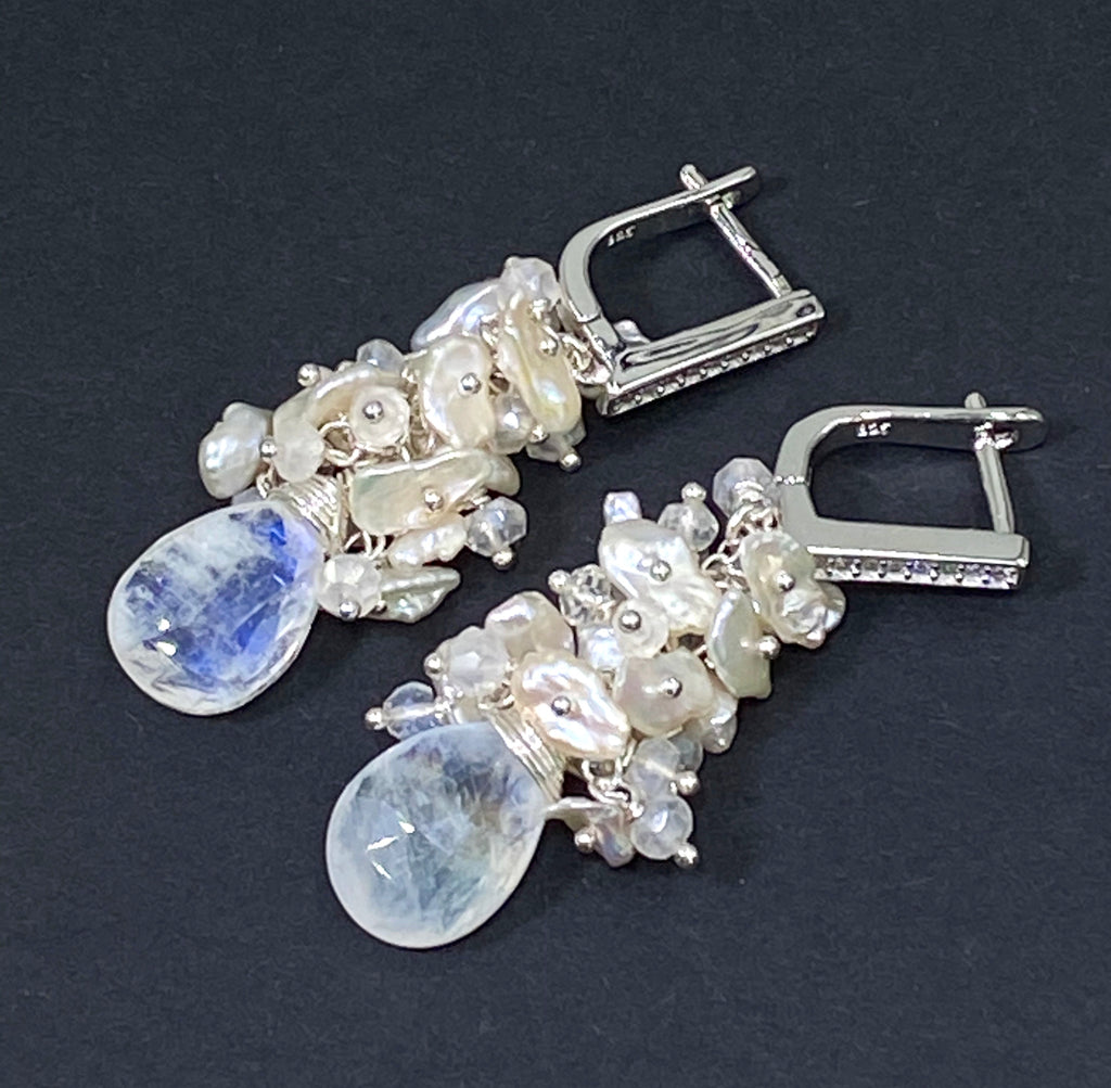 Rainbow Moonstone Keishi Pearl Cluster Earrings Sterling Silver - doolittlejewelry