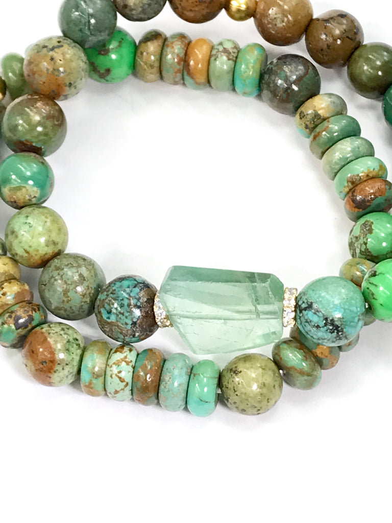 Rustic Turquoise Stack Bracelet Set of 2 with Fluorite - doolittlejewelry