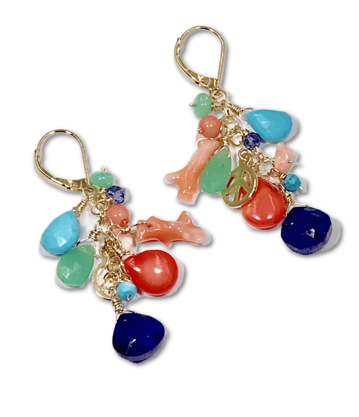 Multi Gemstone Gold Dangle Earrings Coral Blue Lapis Turquoise