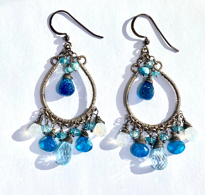 Rainbow Moonstone Hoop Earrings Oxidized Silver Blue Topaz Teal Apatite - doolittlejewelry