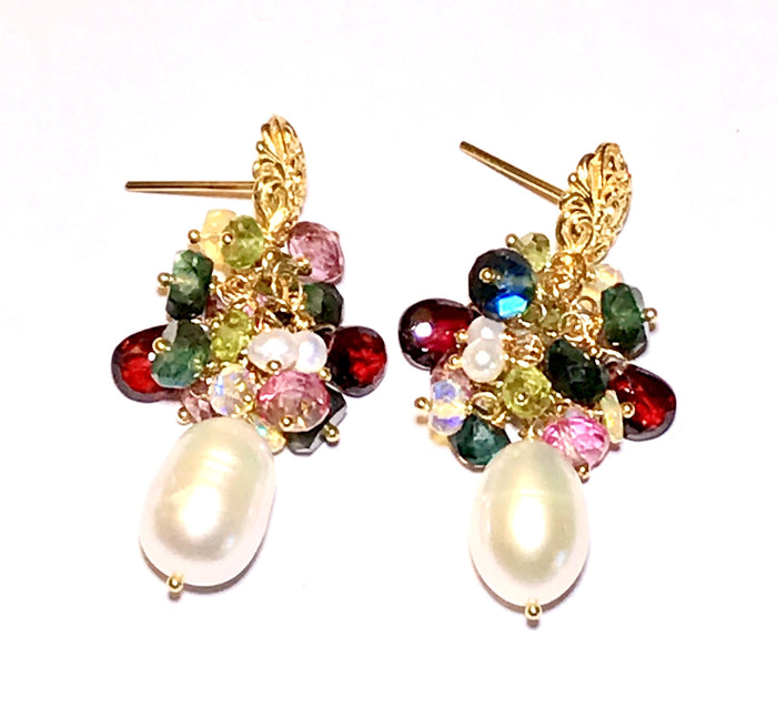 Pearl and Colorful Gemstone Cluster Earrings