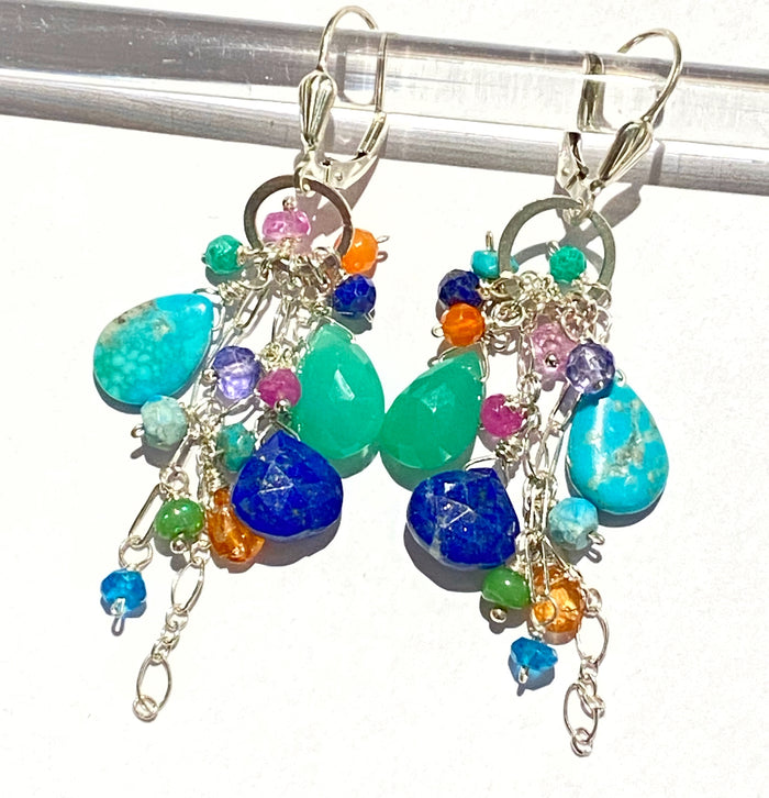 Sterling Silver Dangle Earrings Multicolor Gem Lapis Turquoise Chrysoprase