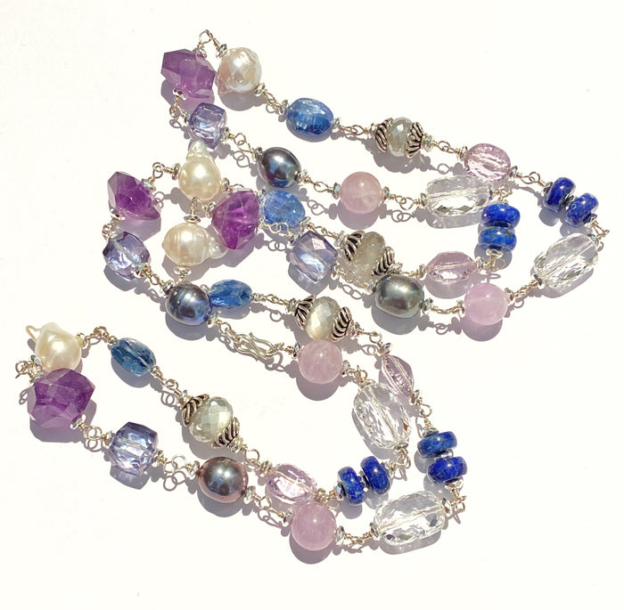 Long Blue Violet Necklace Amethyst Kyanite Pearl Crystal Quartz Sterling Silver
