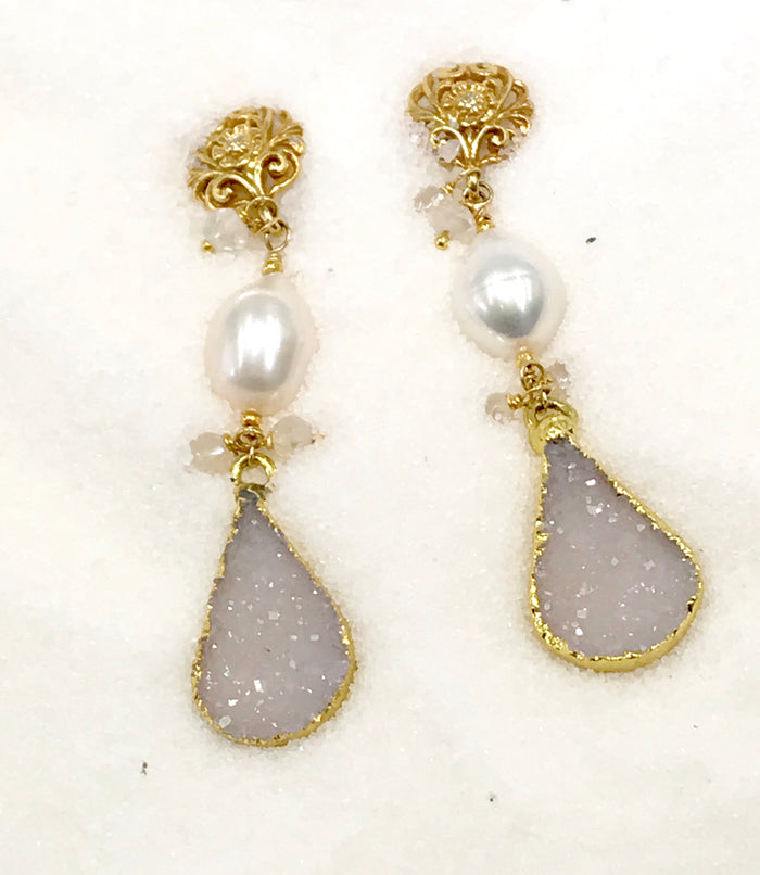 Ivory White Druzy Earring Pearl Earrings - doolittlejewelry